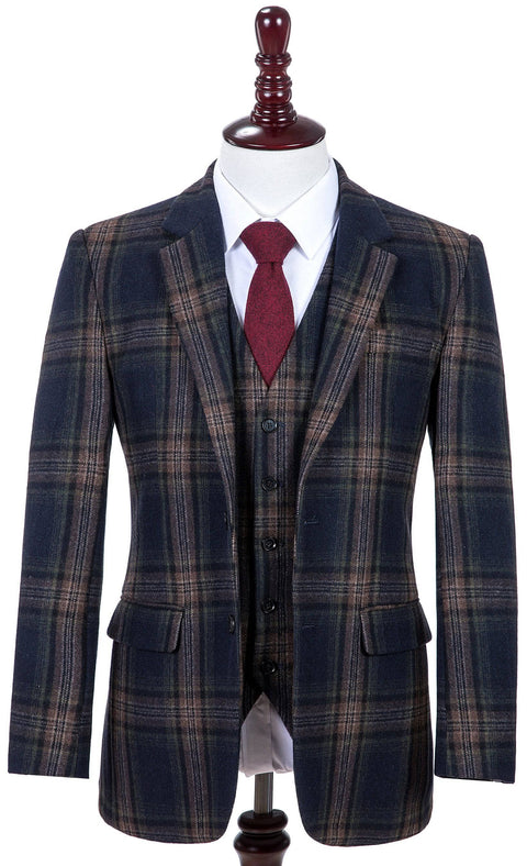Midnight Blue Plaid Tweed Jacket