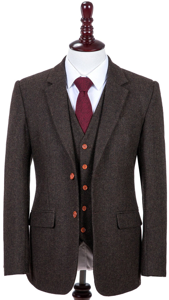 Dark Brown Herringbone Tweed 3 Piece