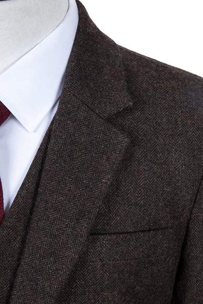Dark Brown Herringbone Tweed Tie