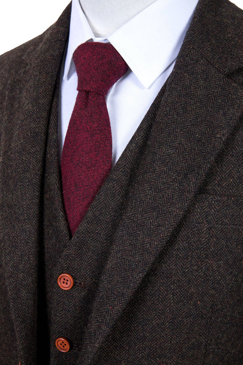 Dark Brown Herringbone Tweed  3 Piece Suit