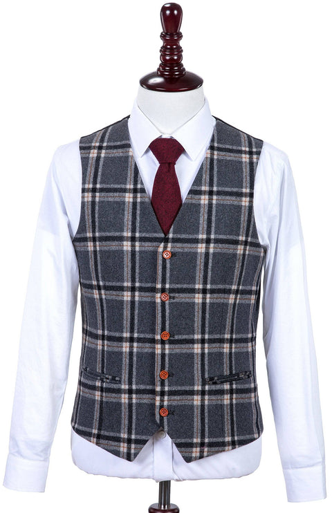 Grey Windowpane Plaid Tweed