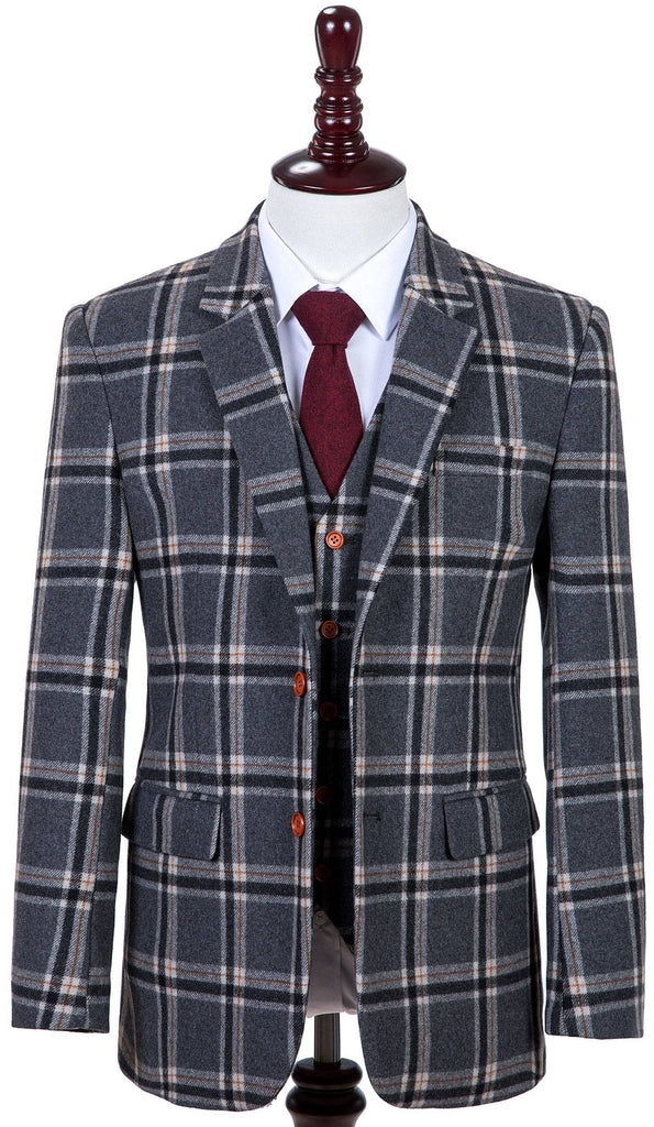 Grey Windowpane Plaid Tweed 2 Piece