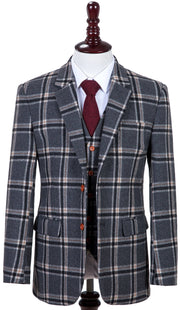 Grey Windowpane Plaid Tweed  3 Piece Suit