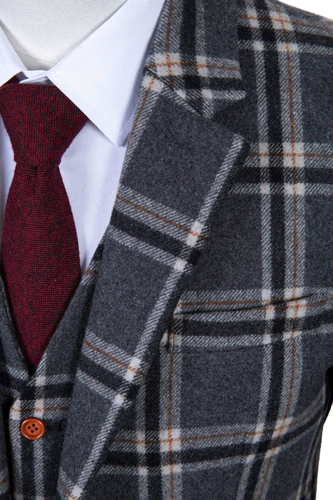 Grey Windowpane Plaid Tweed Jacket