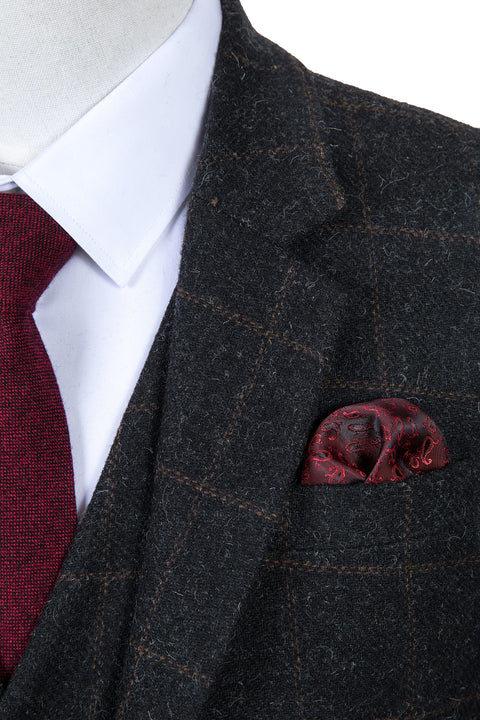 Grey Windowpane Tweed Tie