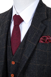 Grey Windowpane Tweed  3 Piece Suit