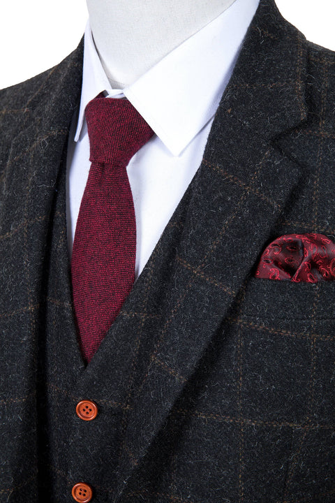 Grey Windowpane Tweed