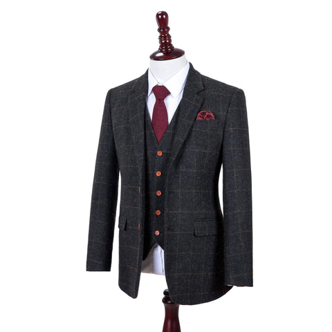 Grey Windowpane Tweed Jacket