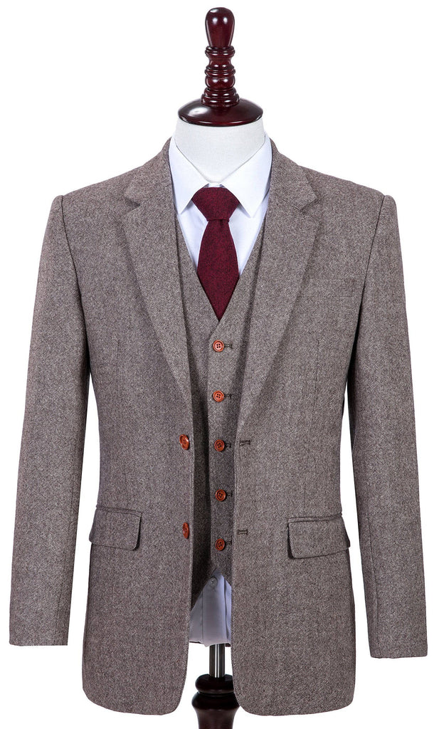 Classic Brown Barleycorn Tweed Jacket