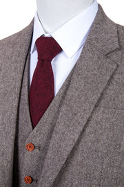 Classic Brown Barleycorn Tweed  3 Piece Suit