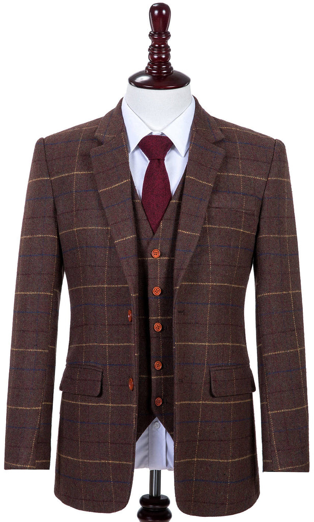 Brown Overcheck Twill Tweed 3 Piece