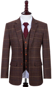 Brown Overcheck Twill Tweed Jacket