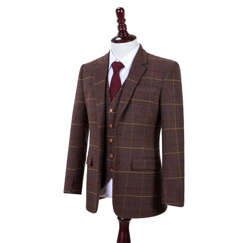 Brown Overcheck Twill Tweed  3 Piece Suit
