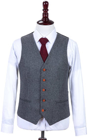 Grey Twill Tweed  3 Piece Suit