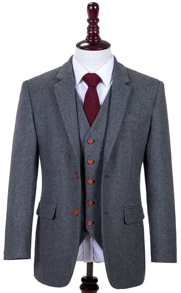 Grey Twill Tweed 2 Piece