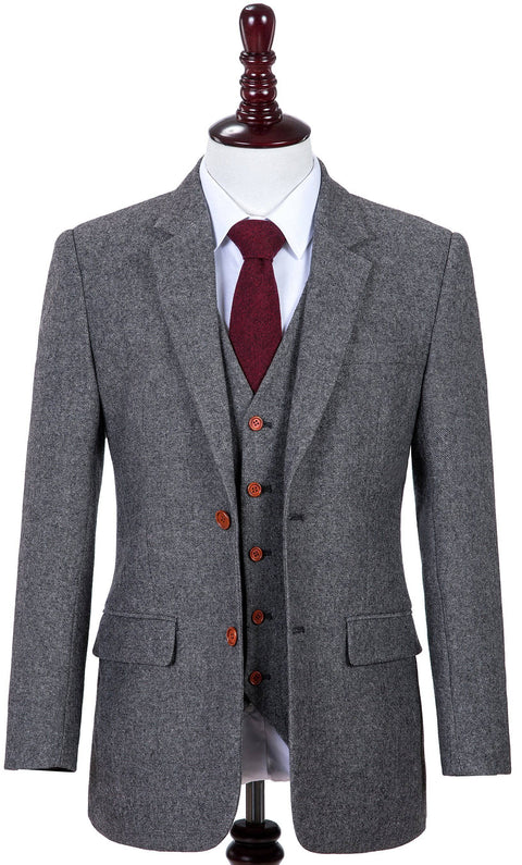 Classic Grey Barleycorn Tweed  3 Piece Suit