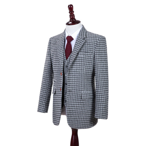 Grey Houndstooth Tweed Jacket