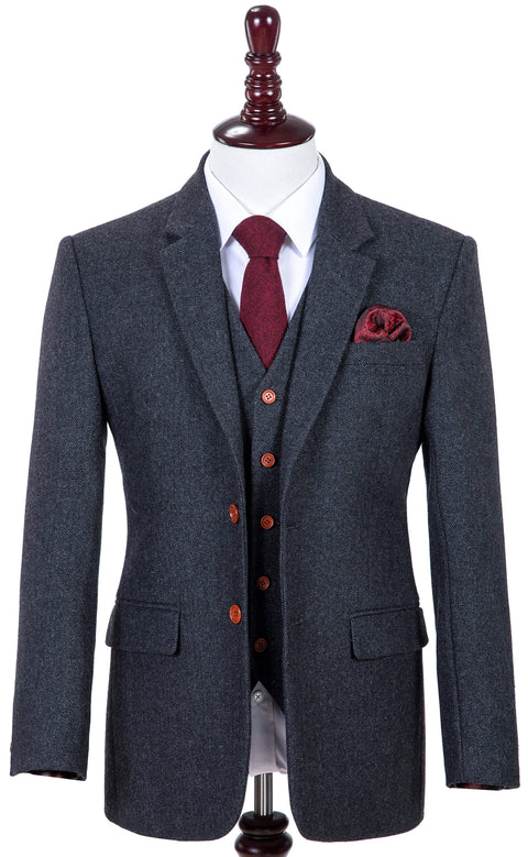 Charcoal Grey Herringbone Tweed Jacket