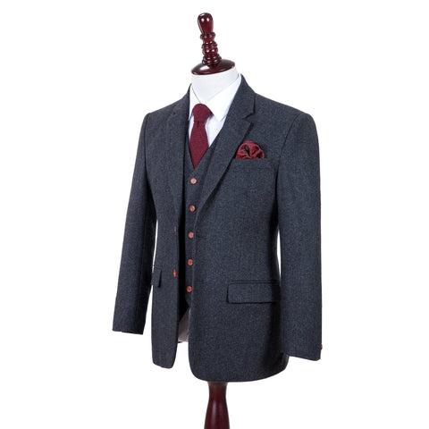 Charcoal Grey Herringbone Tweed  3 Piece Suit
