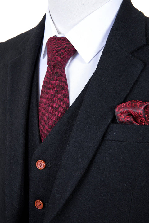 Black Twill Tweed  3 Piece Suit