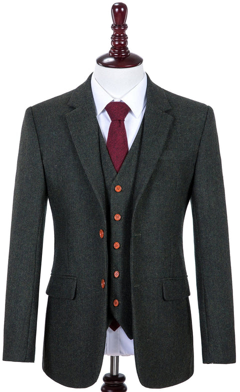 Green Herringbone Tweed Jacket