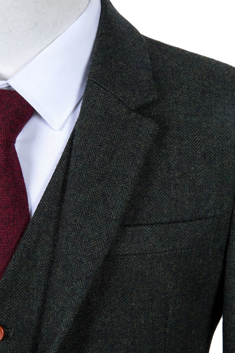 Green Herringbone Tweed  3 Piece Suit