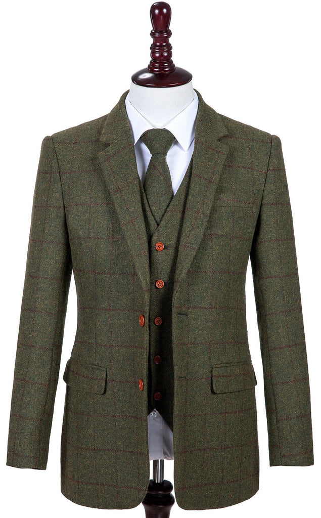 Olive Green Windowpane Tweed Jacket