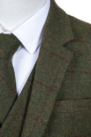 Olive Green Windowpane Tweed  3 Piece Suit