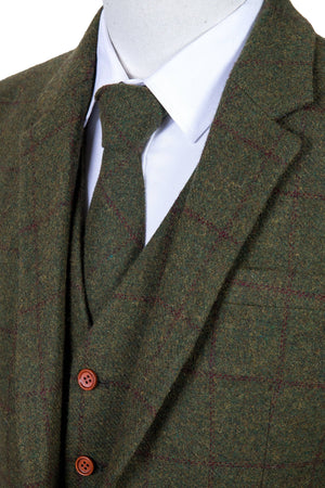 Olive Green Windowpane Tweed 3 Piece