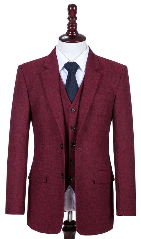 Maroon Barleycorn Tweed  3 Piece Suit