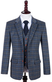 Grey Blue Overcheck Twill Tweed Jacket