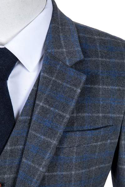 Grey Blue Overcheck Twill Tweed Tie