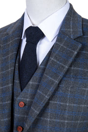 Grey Blue Overcheck Twill Tweed  3 Piece Suit