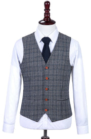 Retro Grey Blue Plaid Tweed Waistcoat