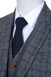 Retro Grey Blue Plaid Tweed