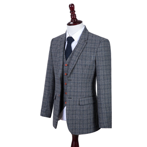 Retro Grey Blue Plaid Tweed  3 Piece Suit