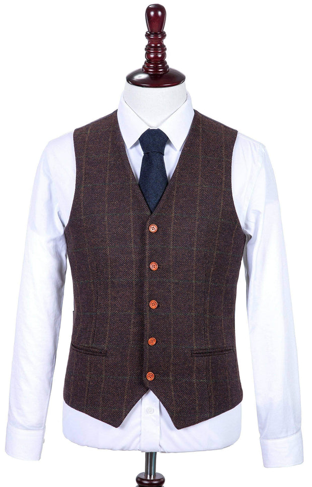 Dark Brown Green Windowpane Tweed Waistcoat