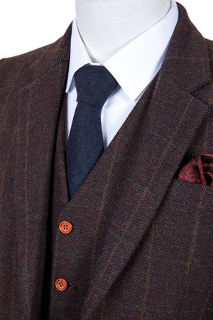 Dark Brown Green Windowpane Tweed 3 Piece