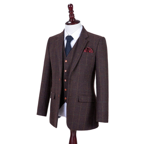 Dark Brown Green Windowpane Tweed Jacket