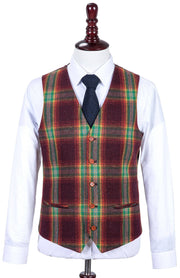 Rainbow Red Plaid Tweed Waistcoat