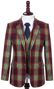 Rainbow Red Plaid Tweed  3 Piece Suit