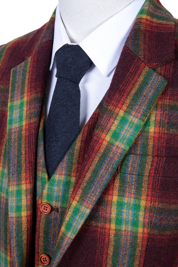 Rainbow Red Plaid Tweed Jacket