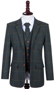Dark Green Overcheck Twill Tweed  3 Piece Suit