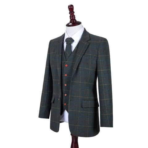 Dark Green Overcheck Twill Tweed Jacket