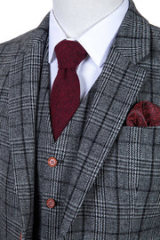Grey Houndstooth Plaid Tweed