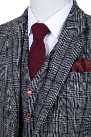 Grey Houndstooth Plaid Tweed 3 Piece