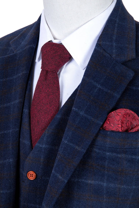 Navy Overcheck Twill Tweed  3 Piece Suit