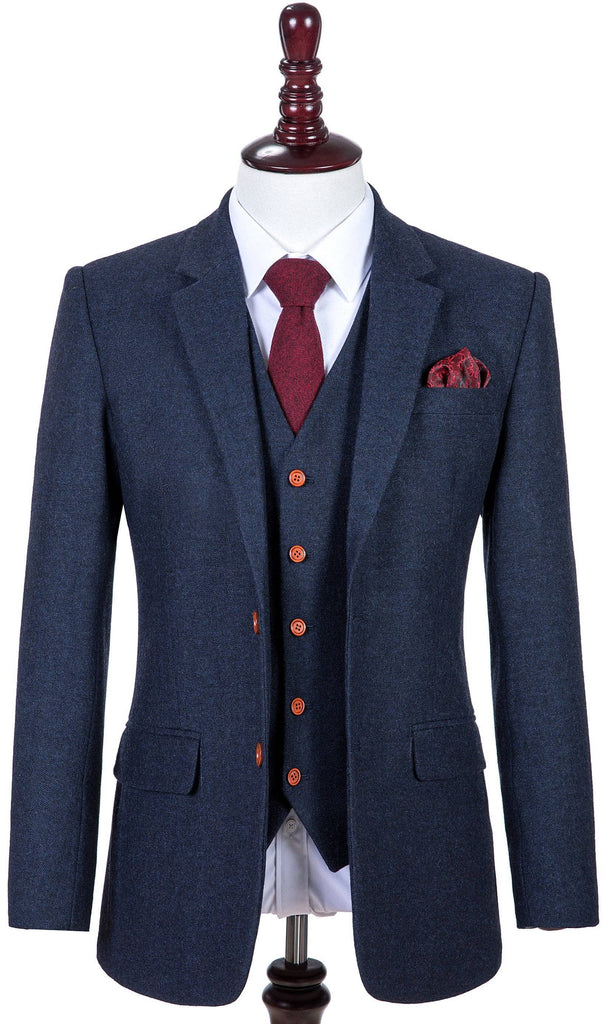 Classic Navy Barleycorn Tweed Jacket