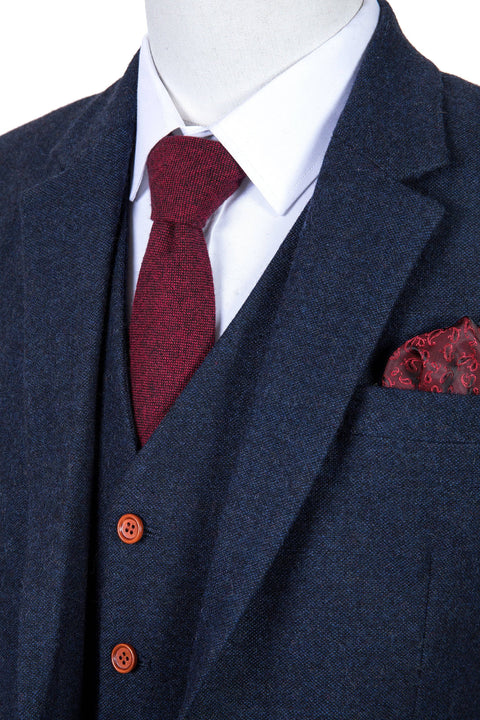 Classic Navy Barleycorn Tweed  3 Piece Suit