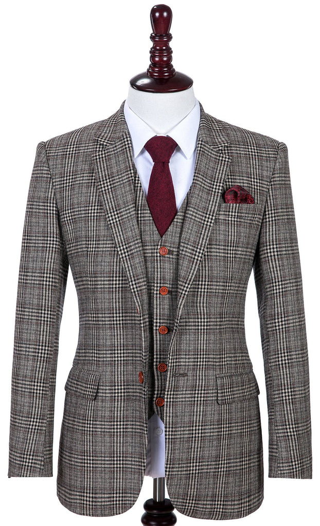 Retro Brown Plaid Tweed Jacket